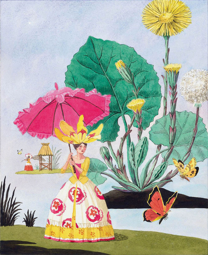giclee print by Harrison Howard personified flower with hot pink parasol