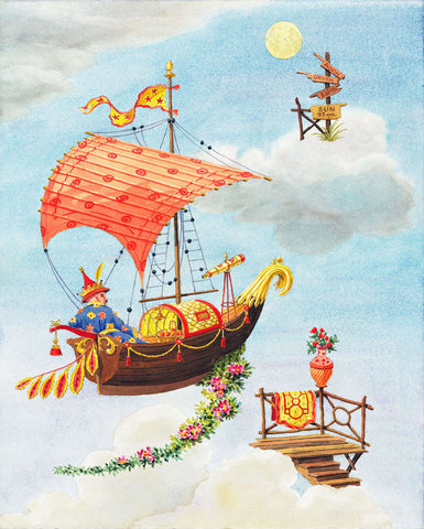 giclee print by Harrison Howard chinoiserie sailor sailing to the moon