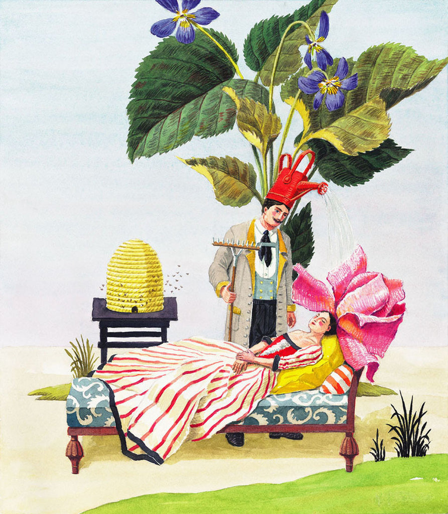 giclee print by Harrison Howard personified flower asleep with gardener