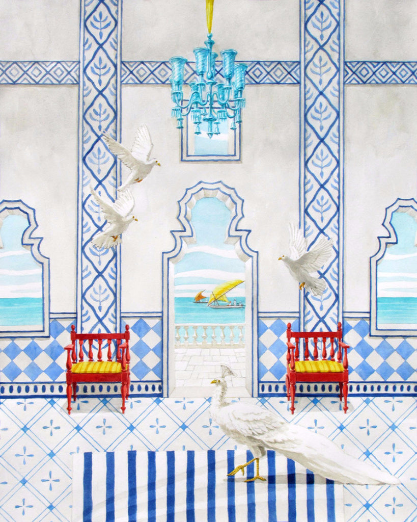 giclee primt of imaginary palace in Goa with peafowl and doves