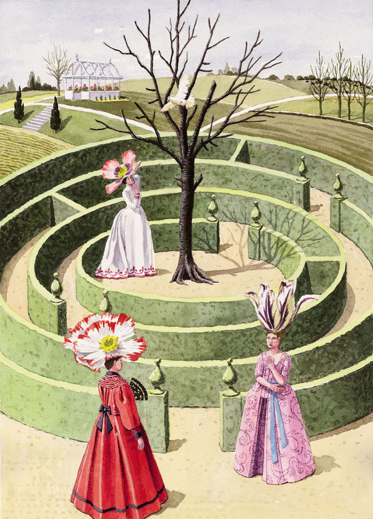 giclee print by Harrison Howard personified flowers in maze with doves and garden