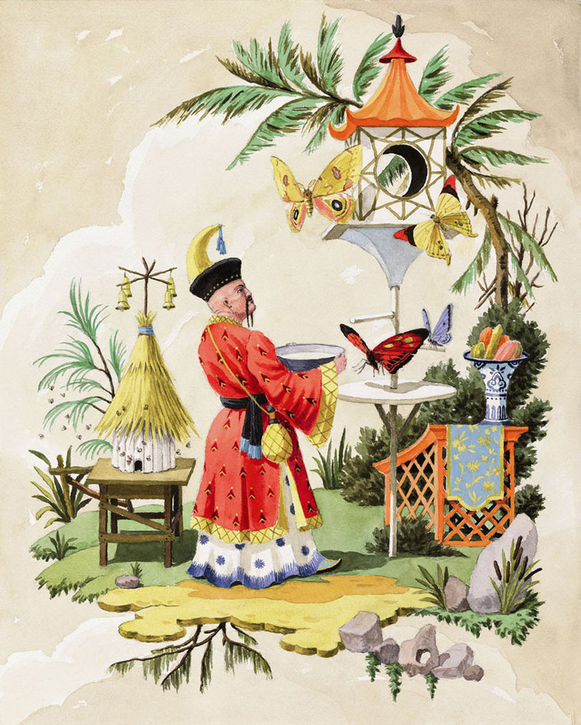 chinoiserie giclee print by Harrison Howard butterflies drinking water