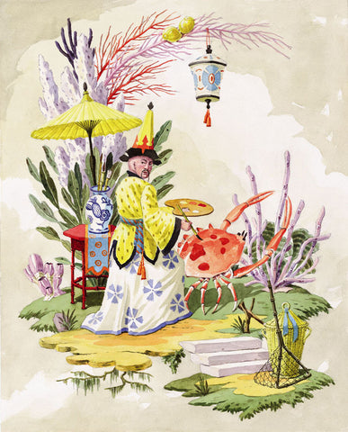 giclee print by Harrison Howard chinoiserie man painting spots on a crab with coral behind them