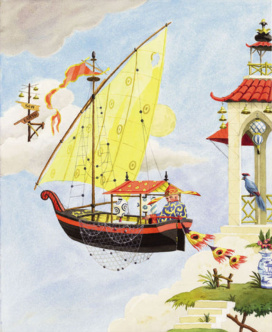 chinoiserie giclee print by Harrison Howard sailbot in sky with yellow sail
