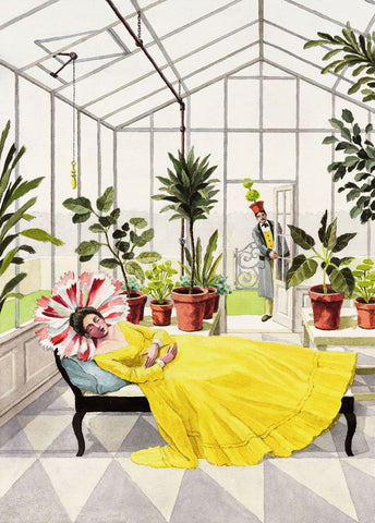 giclee print by Harrison Howard personified flower sleeping in greenhouse