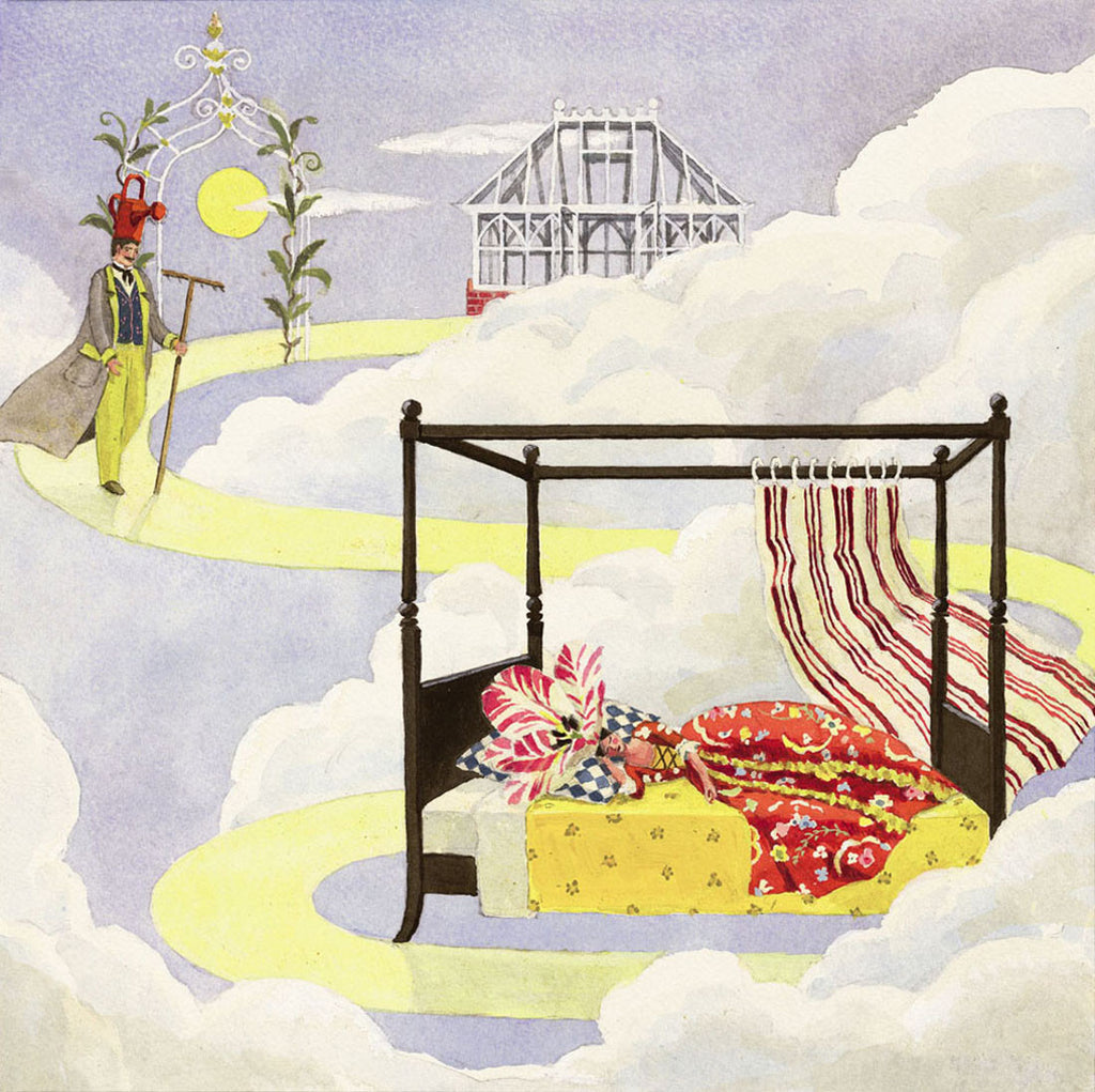 giclee  print by Harrison Howard personified flower asleep in clouds with gardner