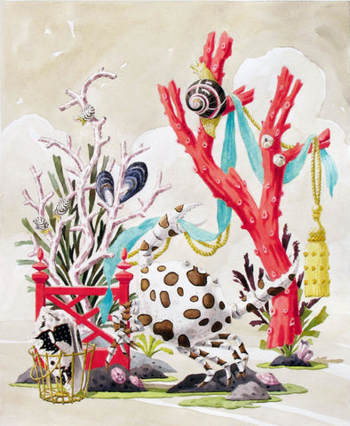 giclee print by Harrison Howard crab dancing with coral, shells, and ribbon