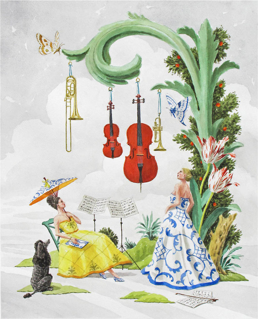 giclee print by Harrison Howard ladies before a concert with poodle
