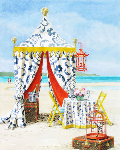 giclee print by Harrison Howard beach tent with table set for two
