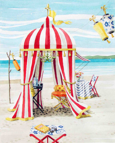 giclee print by Harrison Howard beach tent with table and lanterns