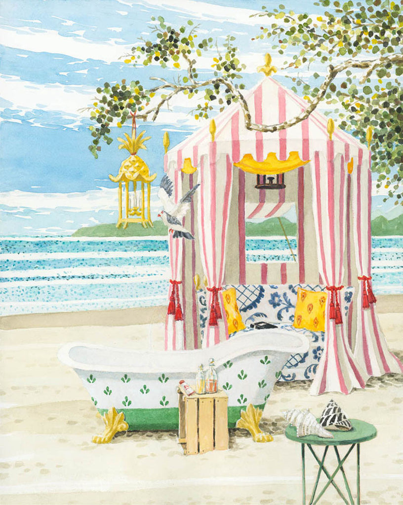 giclee print by Harrison Howard beach tent with tub on the sand