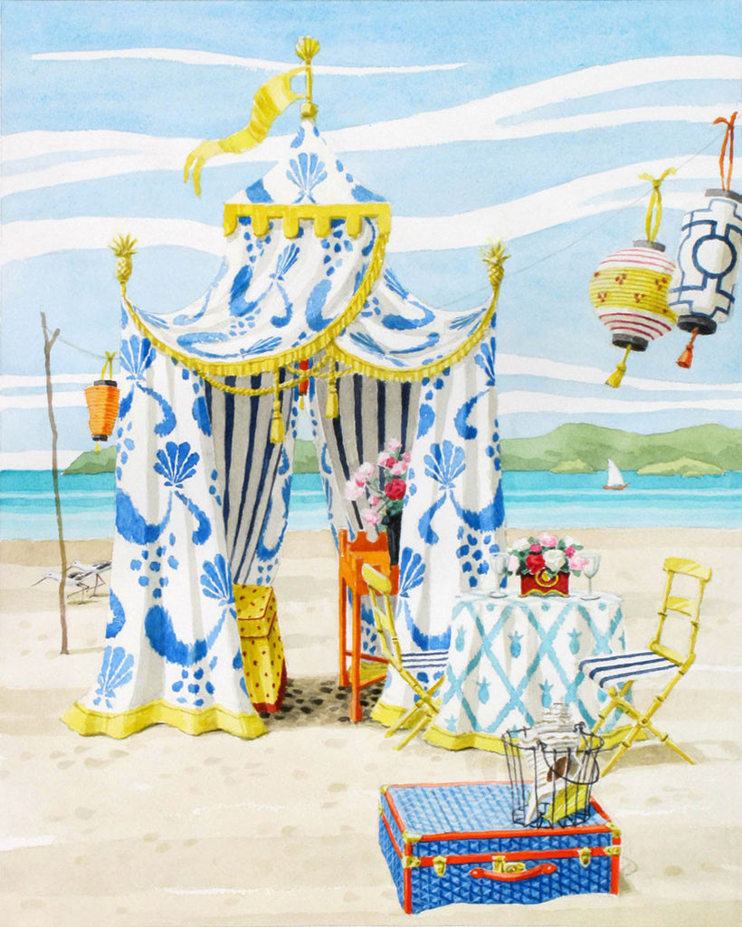 giclee print by Harrison Howard blue and white beach tent with lanterns and suitcase