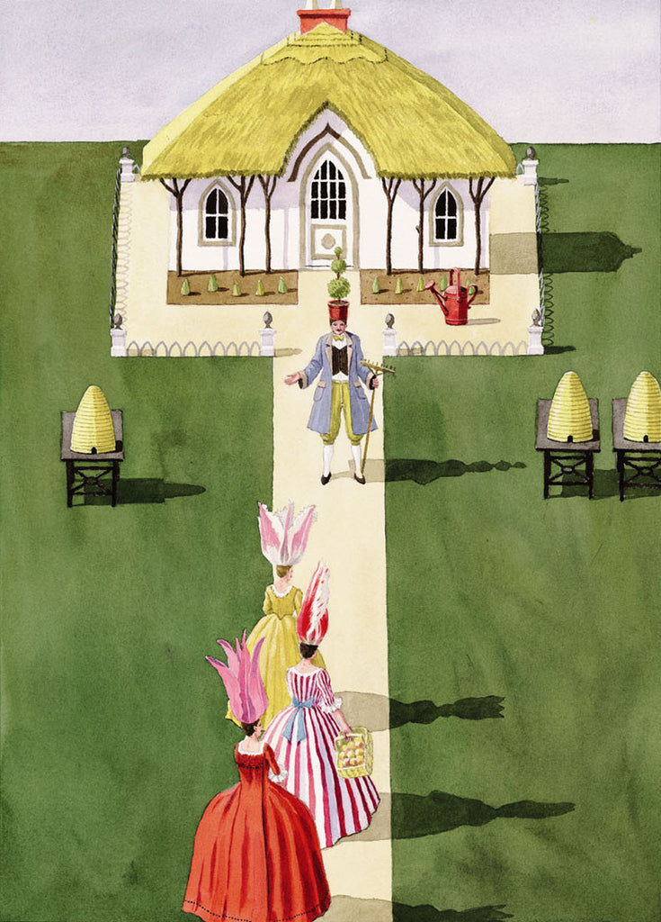 giclee print by Harrison Howard personified flowers with gardener and cottage