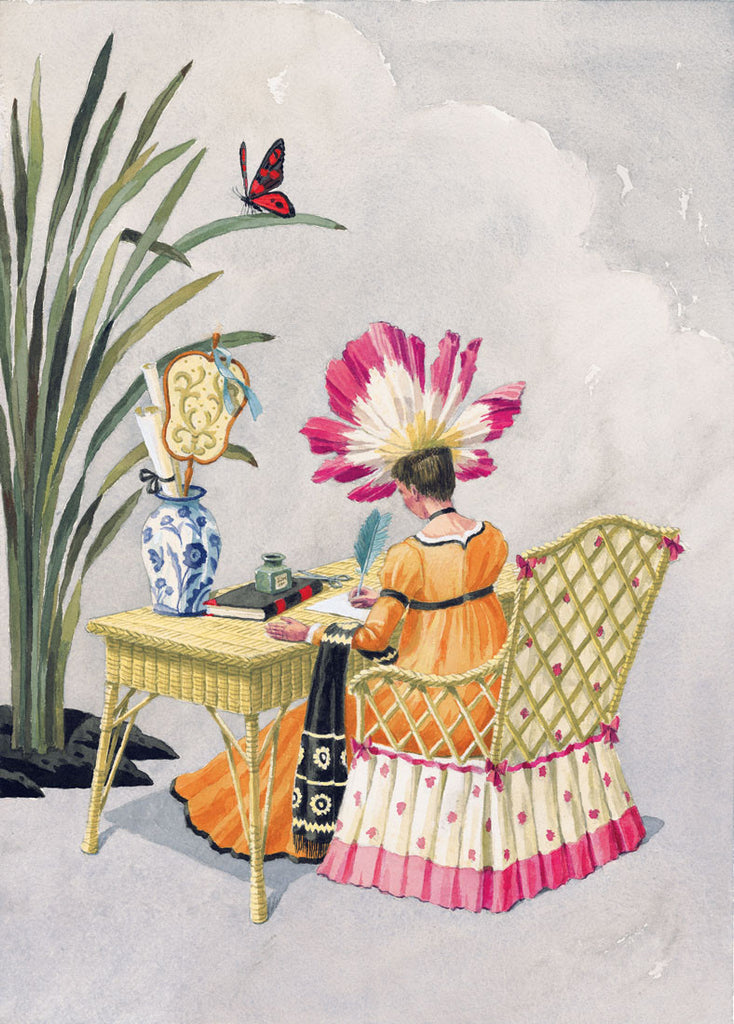 giclee print by Harrison Howard personified flower at wicker writing desk