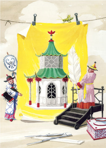 giclee print by Harrison Howard chinoiserie architect with pavilion design