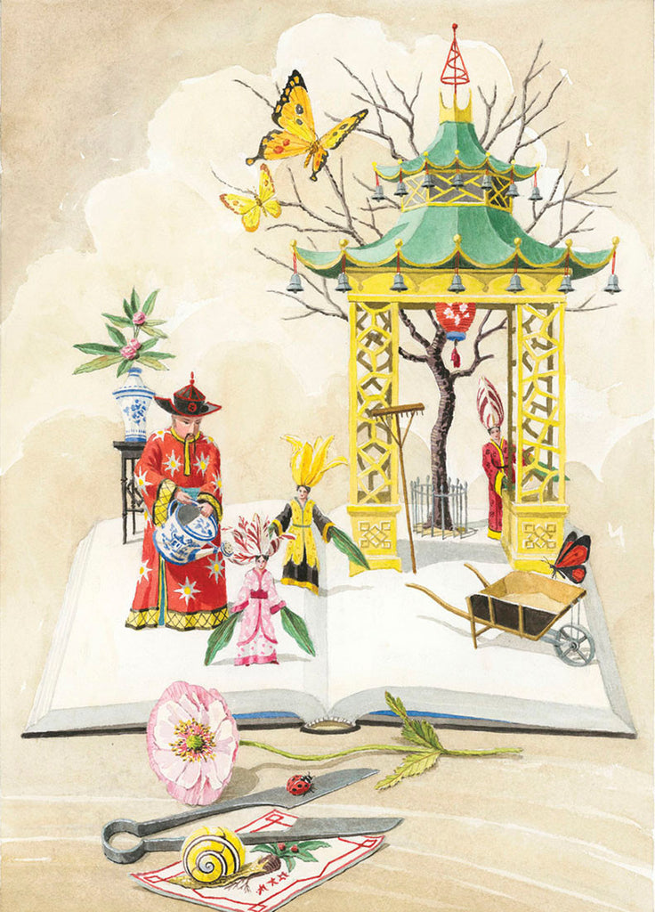giclee print by Harrison Howard chinoiserie gardener with personified flowers