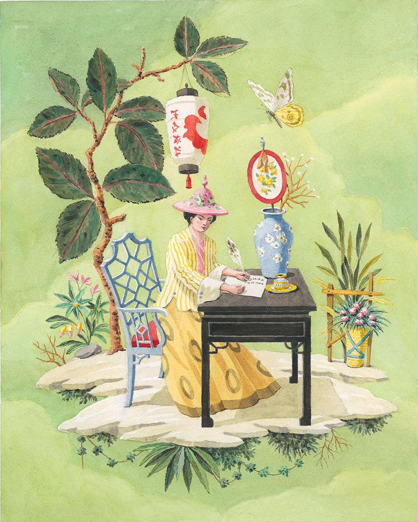 giclee print by Harrison Howard chinoiserie woman writing a poem at a desk