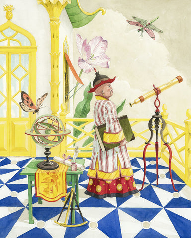 giclee print by Harrison Howard chinoiserie astronomer with telescope & armillary sphere