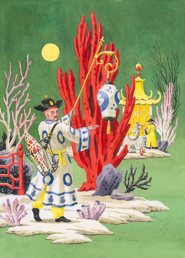 giclee print by Harrison Howard chinoiserie man with shells, coral and green background