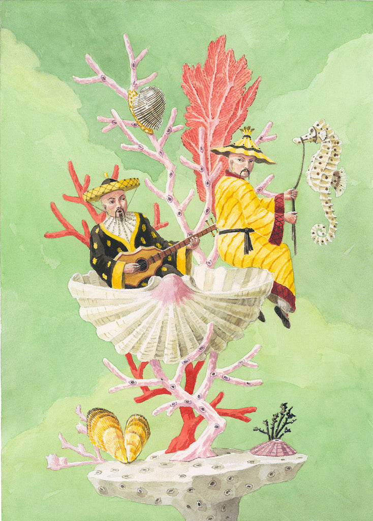 giclee print by Harrison Howard chinoiserie men sitting on shell with coral and seahorse