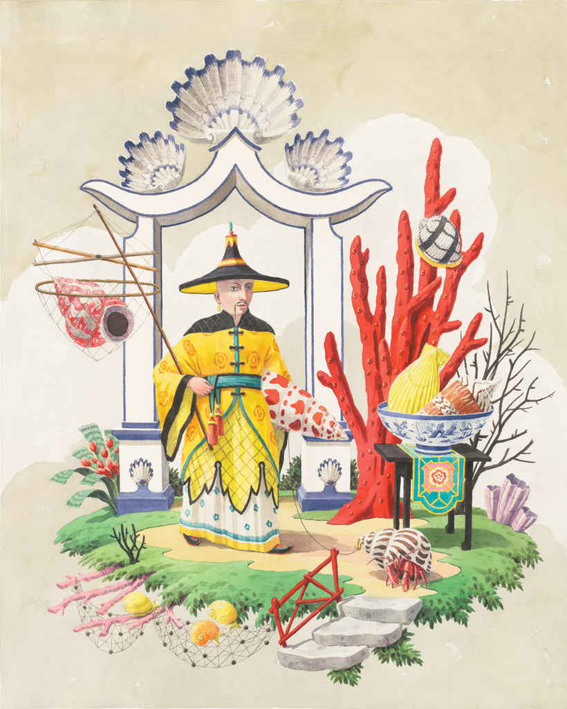 giclee print by Harrison Howard chinoiserie man with shells, fishing net, & red coral