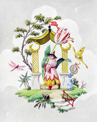 giclee print by Harrison Howard chinoiserie man with tulip, butterflies, and portal