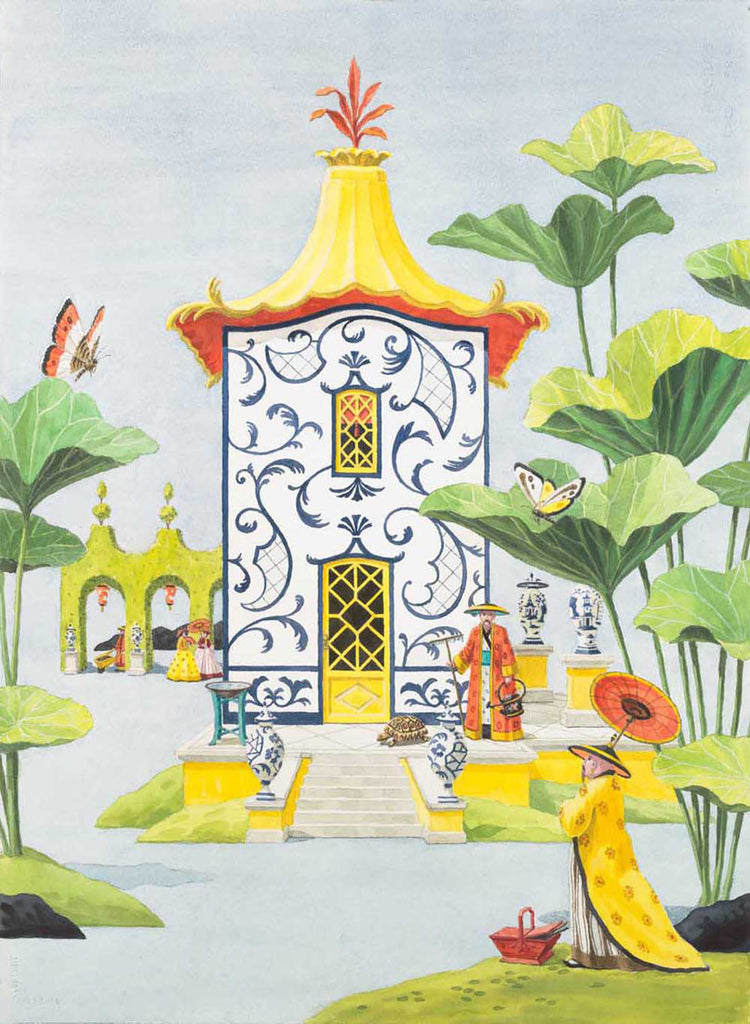 giclee print by Harrison Howard chinoiserie pavilion with leaves