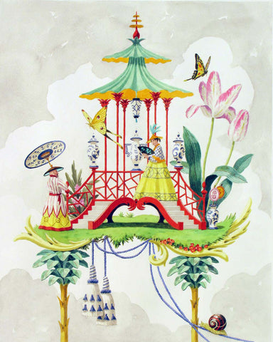 giclee print by Harrison Howard chinoiserie pavilion with a couple, butterflies, and tulips