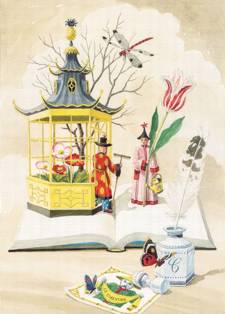 giclee print by harrison howard chinoiserie gardeners with pavilion and butterflies