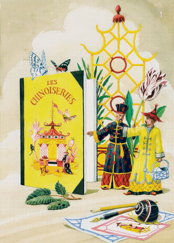 giclee print by Harrison Howard chinoiserie gardners with book, butterflies, & snail