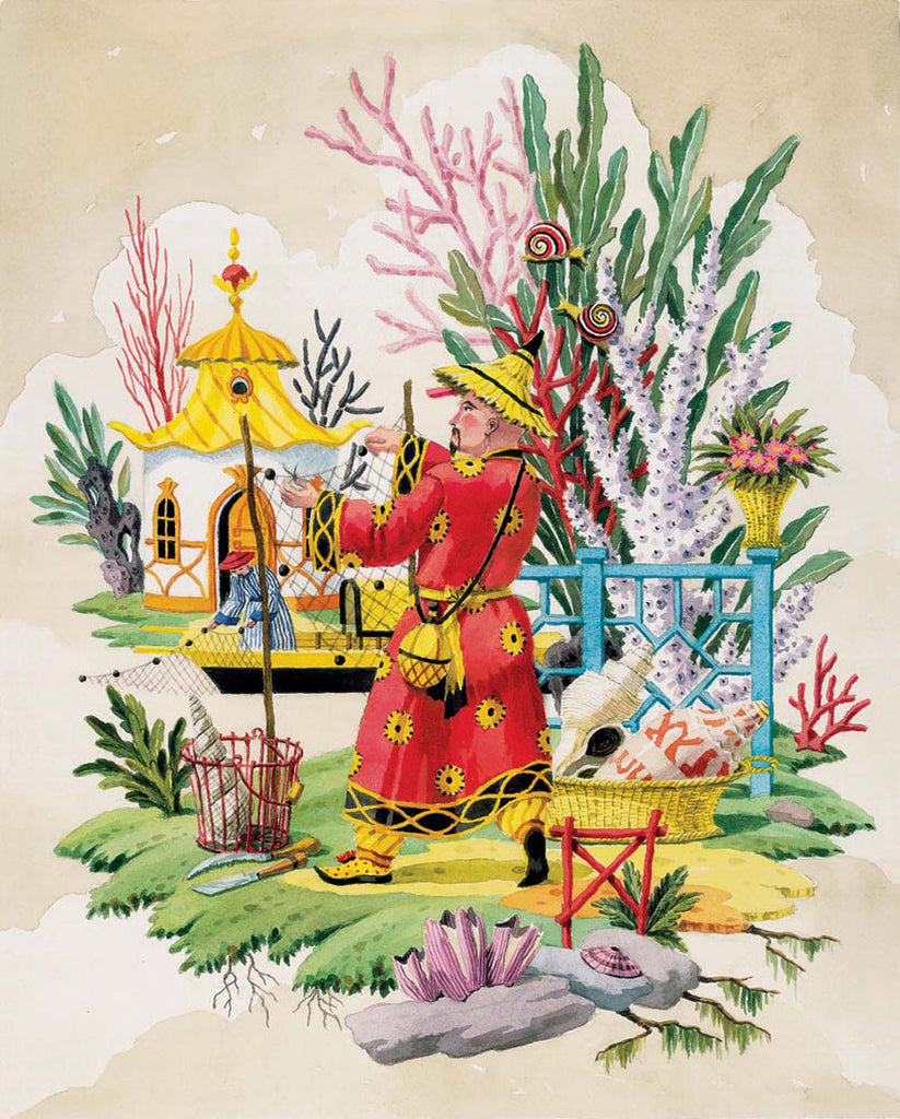giclee print by Harrison Howard chinoiserie fisherman fixing net
