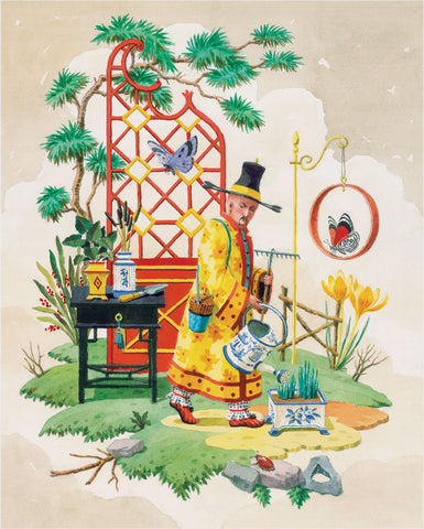 giclee print by Harrison Howard chinoiserie gardener watering flowers