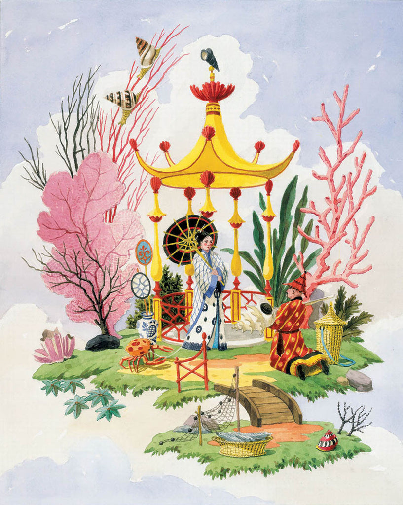giclee print by Harrison Howard chinoiserie couple with shell pavilion