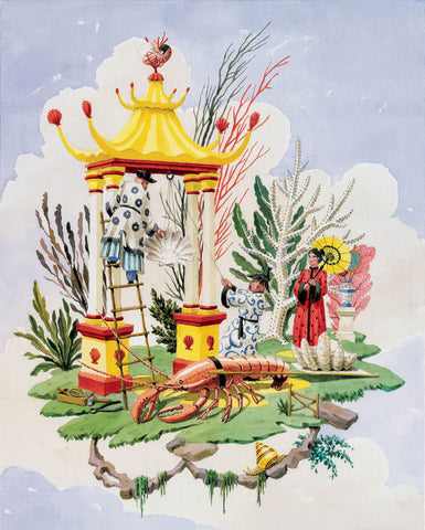 giclee print by Harrison Howard chinoiserie workers with shell portal