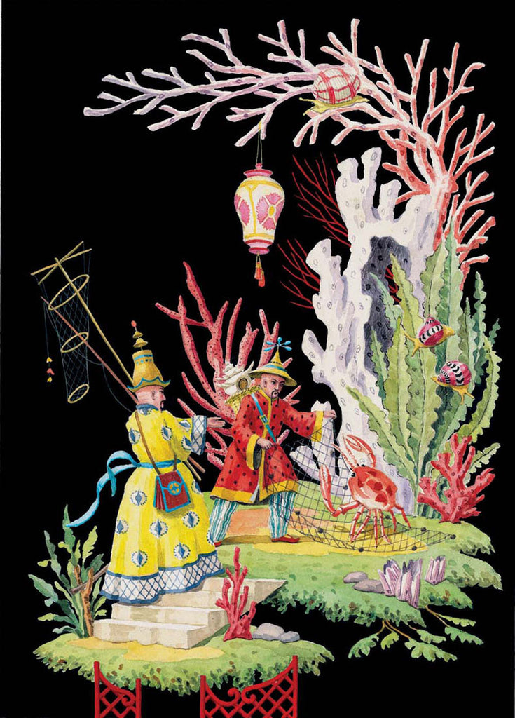 giclee print by Harrison Howard chinoiserie fishermen capturing a crab