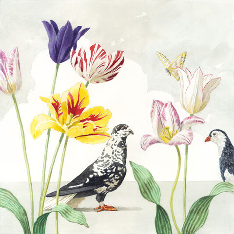 Tulips with Two Pigeons