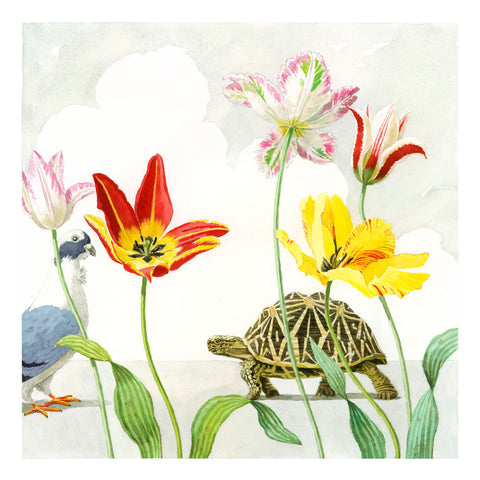 Tulips with Dove & Turtle