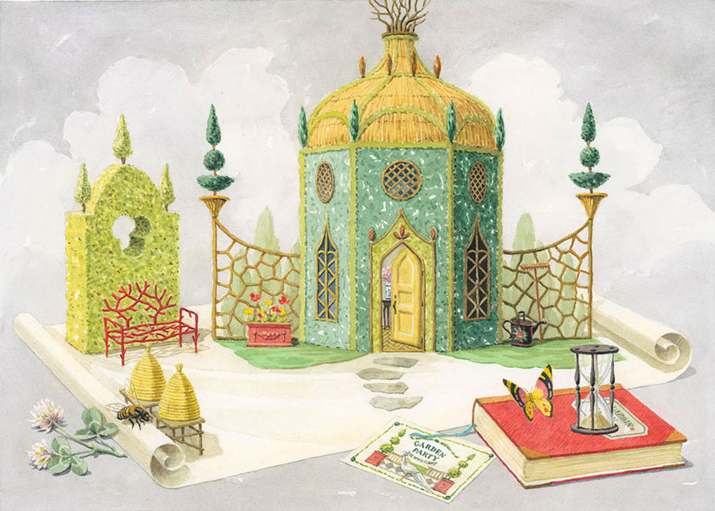 giclee print by Harrison Howard garden folly with topiary & butterfly