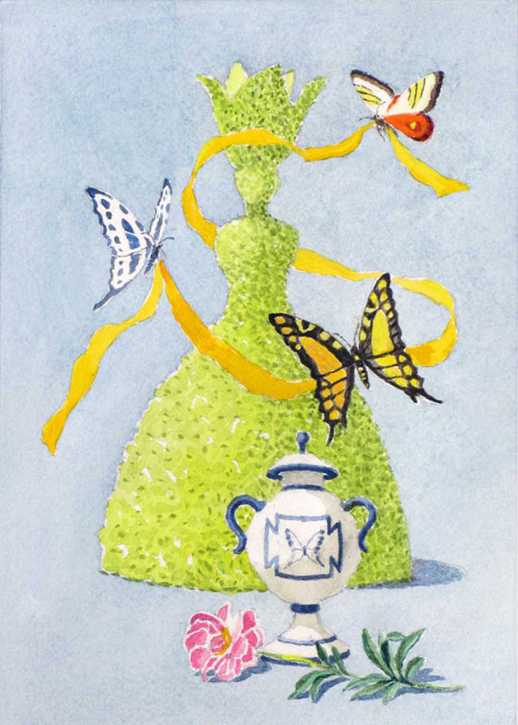 giclee print by Harrison Howard topiary lady with butterflies & flower