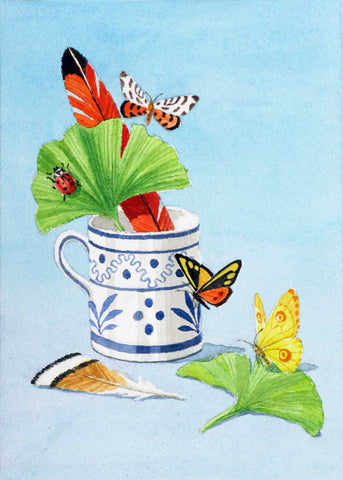 giclee print of of blue & white cup, feathers, leaves, & butterflies
