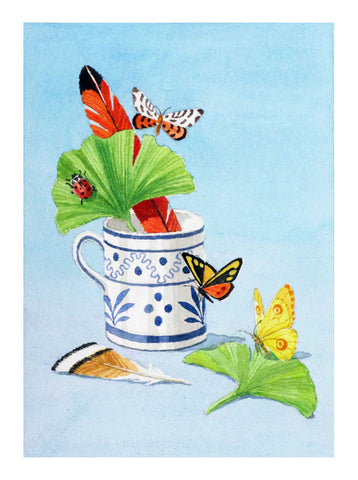 giclee print by Harrison Howard blue and white cup with feathers, butterflies & leaves