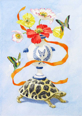 giclee print by Harrison Howard turtle, blue and white urn, butterflies & flowers