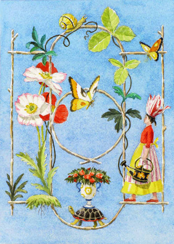 giclee print by Harrison Howard personified flower with rustic wood framework, flowers and butterflies