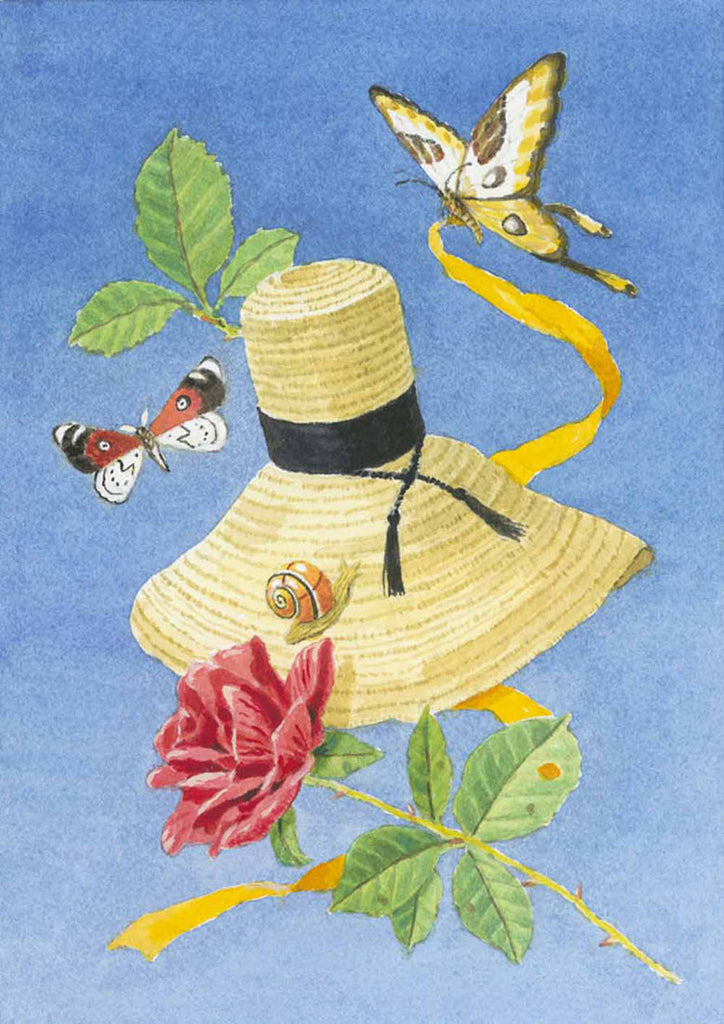 giclee print by Harrison Howard straw hat with butterflies, rose, and ribbon