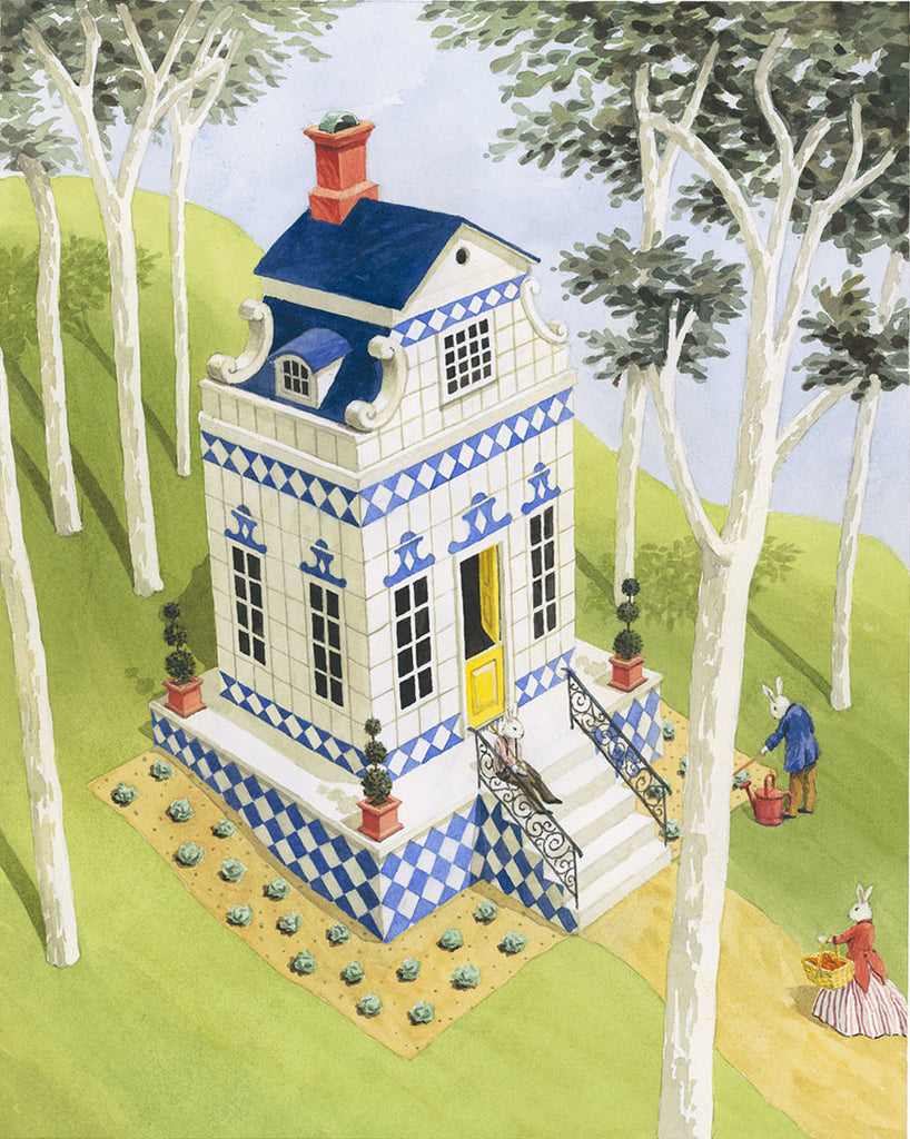 giclee print by Harrison Howard three rabbits with blue and white house in woods