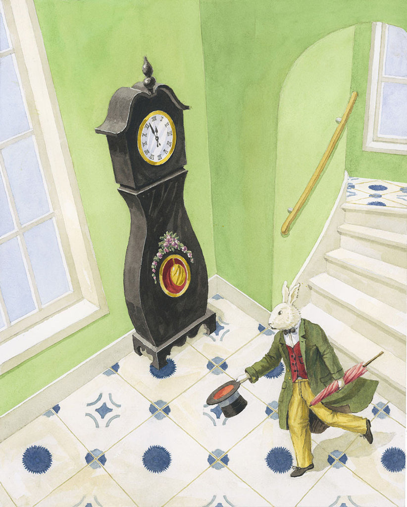 giclee print by Harrison Howard rabbit running down the stairs past a grandfather clock