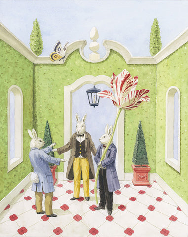 giclee print by Harrison Howard three rabbits with topiary & tulip