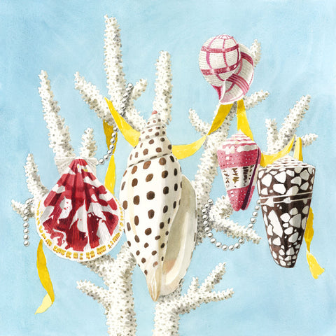 giclee print by Harrison Howard Shells, coral, ribbons, & pearls