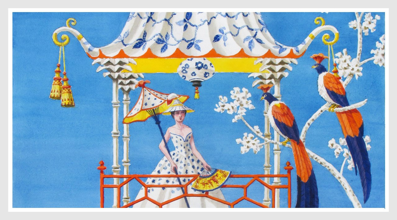 giclee print by Harrison Howard chinoiserie red pavilion with butterflies  & blue and white urns