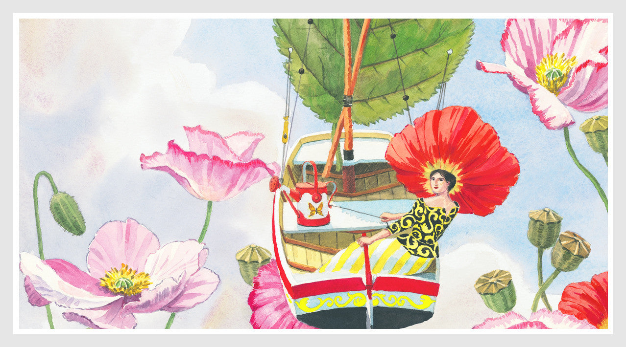 giclee print by Harrison Howard personified flower sailing in sky with poppies